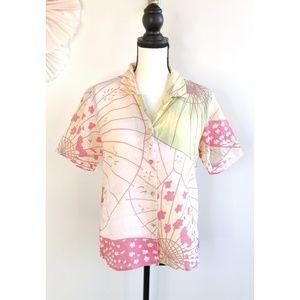 Citron Santa Monica Linen Pink White Button Shirt